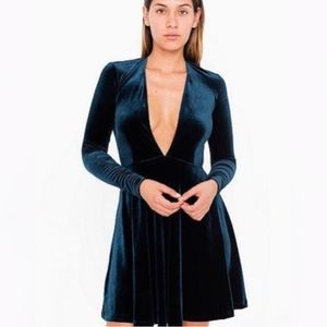 AMERICAN APPAREL low V-neck velvet skater dress